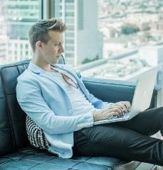 rankme1's SEO Professional working on laptop