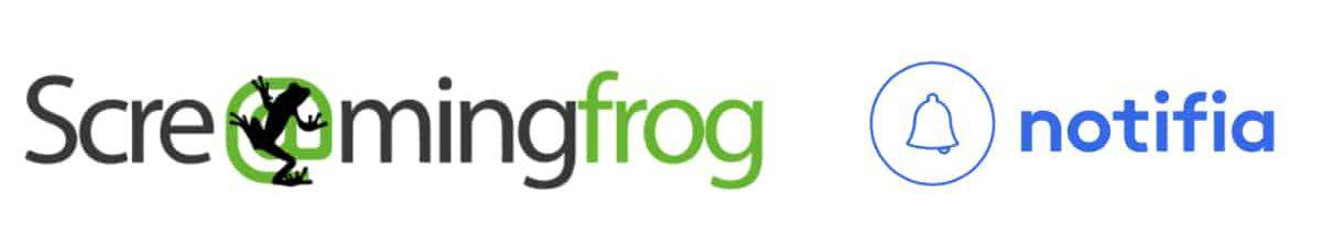 screaming frog and notifia logos on white background