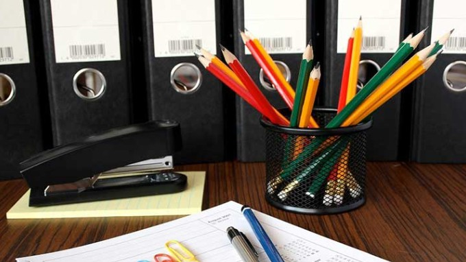 Pencils On A Table With A Stapler