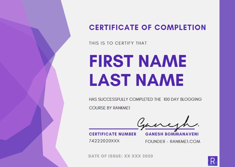 Digital Deepak Blogging Course Certificate