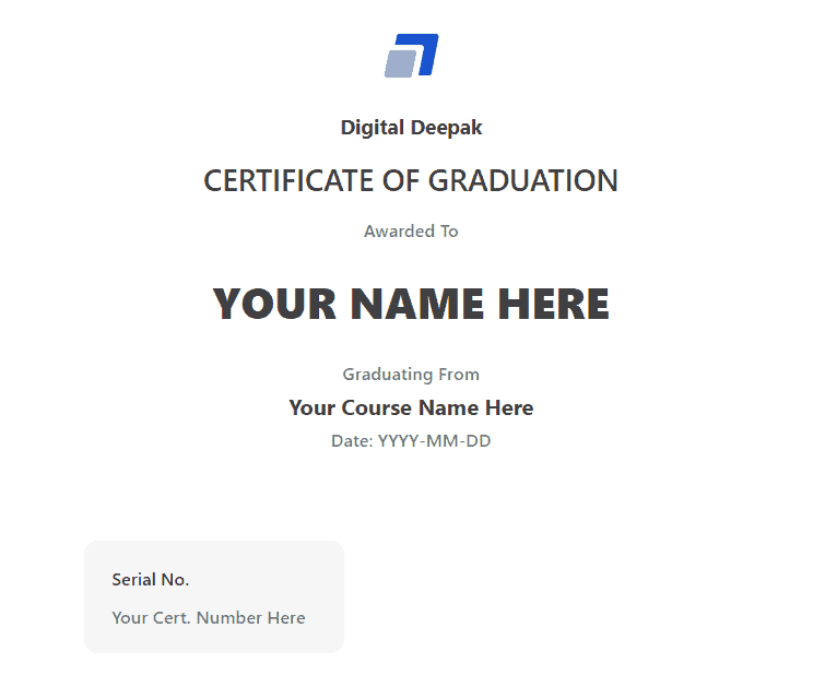Course Certificate From Digital Deepak
