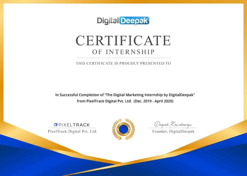 certificate of digital deepak internship program