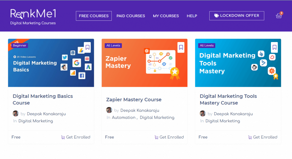 Screenshot Of Rankme1 Lms Showing Digital Deepak Courses