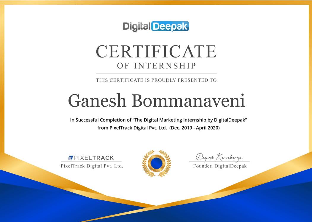 Digital Deepak Internship Certificate