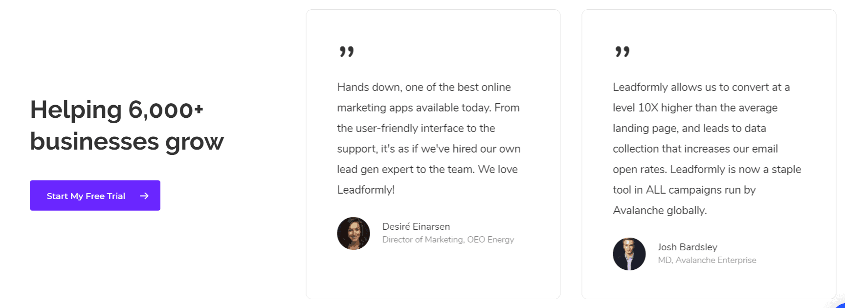 Leadformly Customer Testimonials