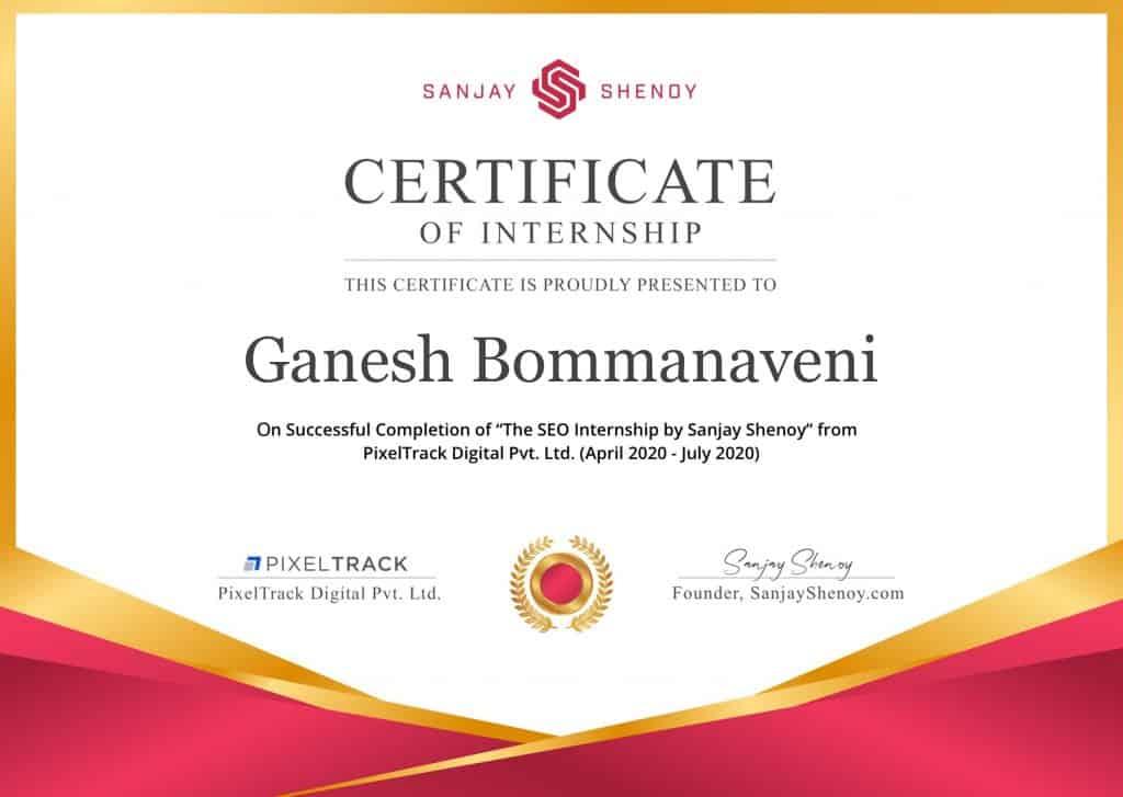 Ganesh Bommanaveni Seo Internship Certificate Of Sanjay Shenoy 1